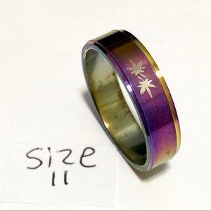 Jewelry - Rainbow Tone Ring, leaf print, Size 11